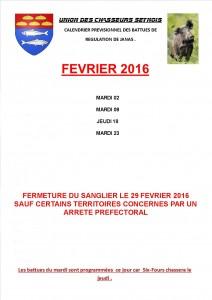 CALENDRIER FEVRIER BATTUES 2015 2016